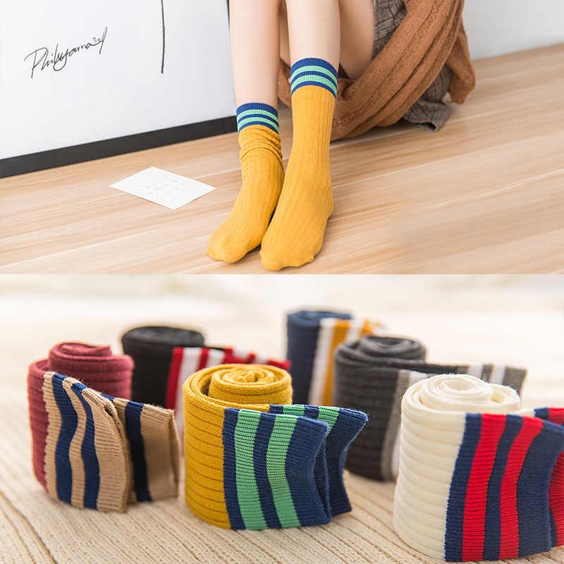 Yeni Unisex çorap pamuk gökkuşağı çizgili çoraplar noel moda sıcak noel rahat Hipster çorap