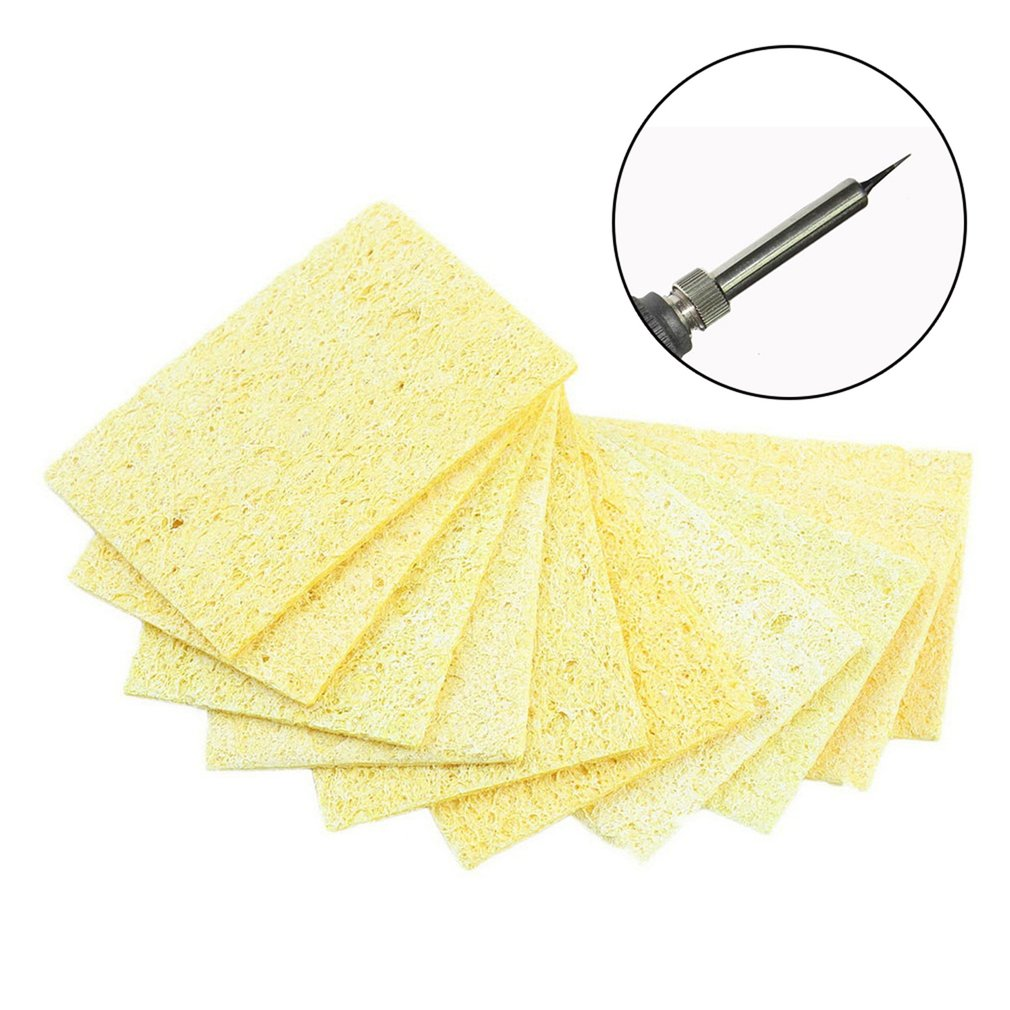 10pcs/Lot Soldering Iron Solder Tip Welding Cleaning Sponge Yellow Tool Cleaning Accessories P25