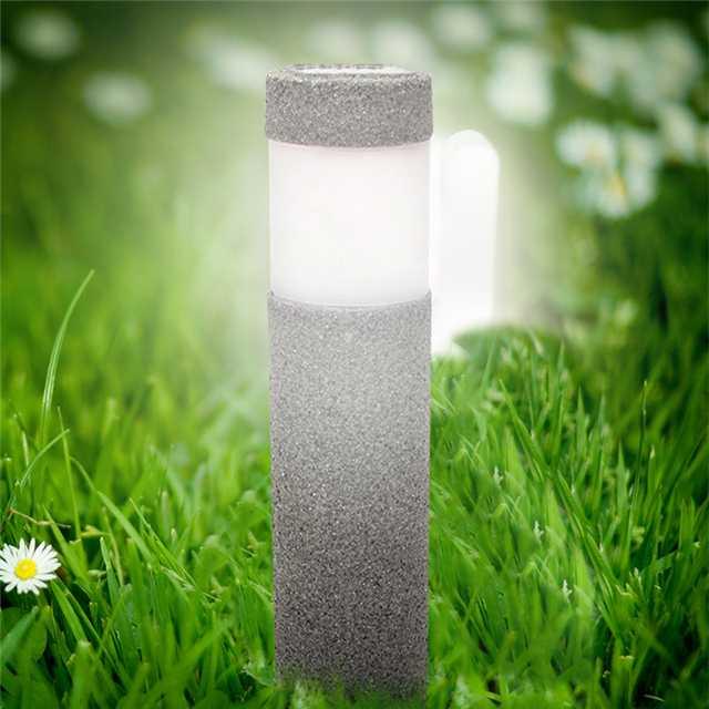 Solar Powered Stone Pillar LED Garden Lights Lawn Yard Post Lamp Courtyard Decor