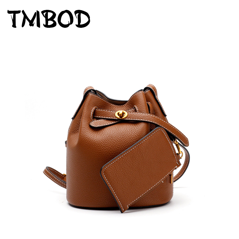 New 2018 Designer Classic Drawstring Small Bucket Women Cowhide Genuine Leather Handbags Ladies Messenger Bags For Female an930 women genuine leather handbags ladies personality new head layer cowhide shoulder messenger bags hand rub color female handbags