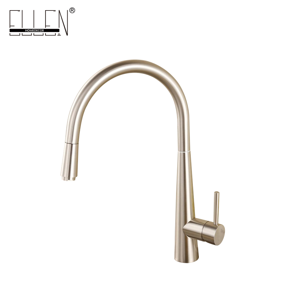 Brush Nickel Kitchen Sink Faucet Pull Out Hot and Cold Water Mixer Tap Spray Kitchen Faucet Solid Brass ELT910 new pull out sprayer kitchen faucet swivel spout vessel sink mixer tap single handle hole hot and cold