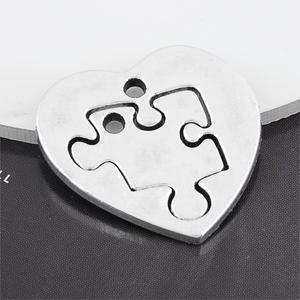 5Sets Silver Color Heart Shaped Puzzle Charms Making Jigsaw Tag Couple Pendant Necklaces Choke Jewelry Handcraft 27X26mm A3221(China)