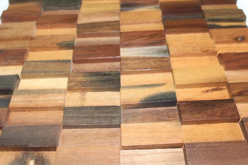 D striscia rettangolo naturale legno rustico muro di piastrelle