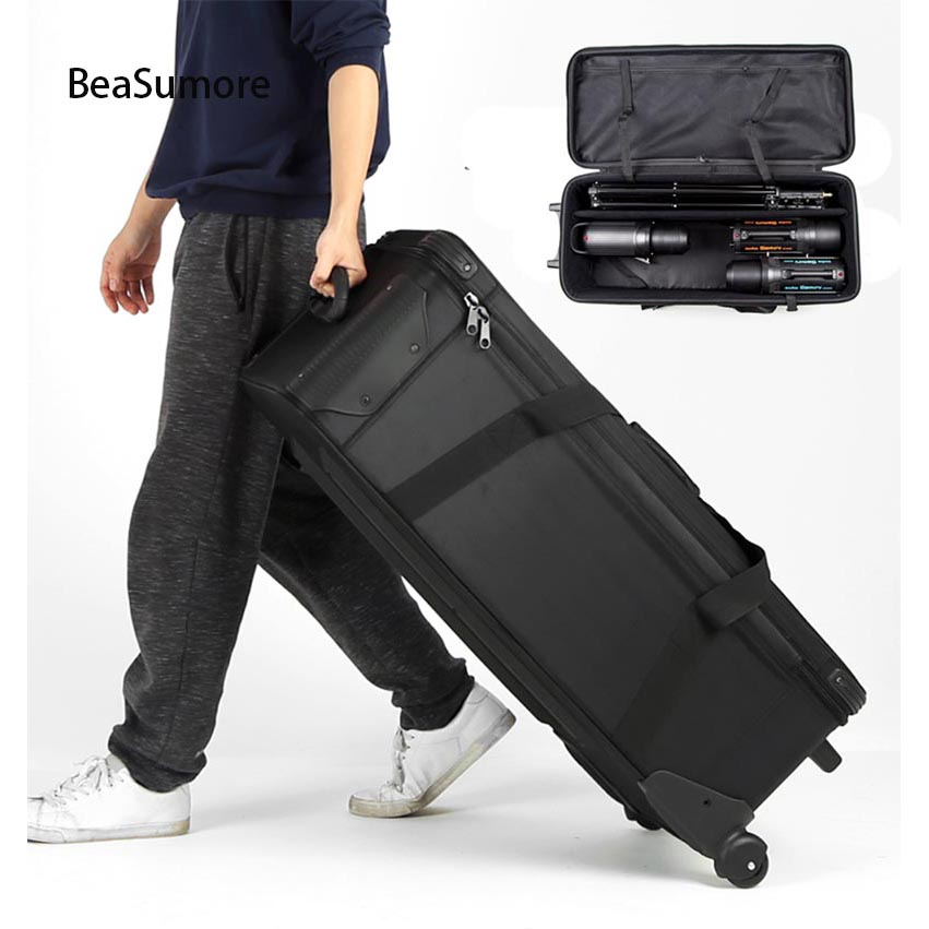BeaSumore Large Capacity Photographic lighting set Travel Bags Storage bag Trolley Rolling Luggage Caster Men Suitcase