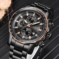 Relogio Masculino LIGE New Sport Chronograph Mens Watches Top Brand Luxury Full Steel Quartz Clock Waterproof Big Dial Watch Men