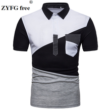 2018 summer style T-shirt men Urban fashion short sleeved T shirt geometry patchwork color mens slim t-shirt dress EU/US size