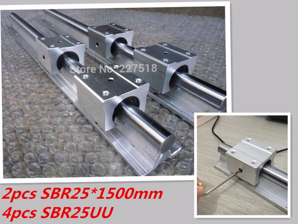 25mm linear rail SBR25 1500mm 2pcs and 4pcs SBR25UU linear bearing blocks for cnc parts 25mm linear guide 2pcs sbr25 l1500mm linear guides 4pcs sbr25uu linear blocks for cnc