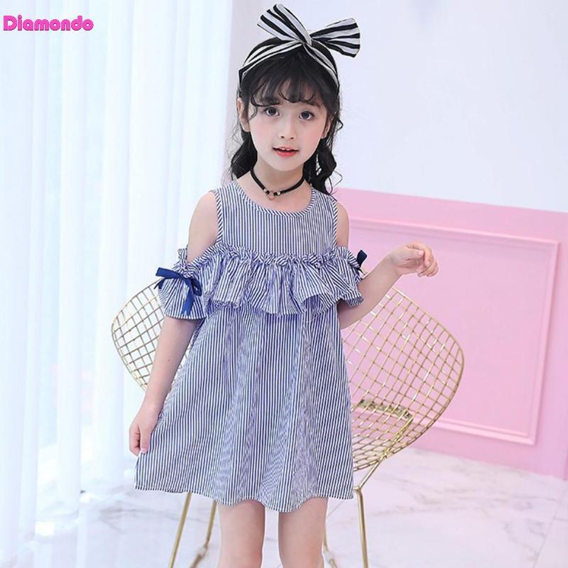 Verano niñas vestidos niños Stripe lindo Ruffle Side sin mangas princesa vestido de fiesta niños ropa con Headwear