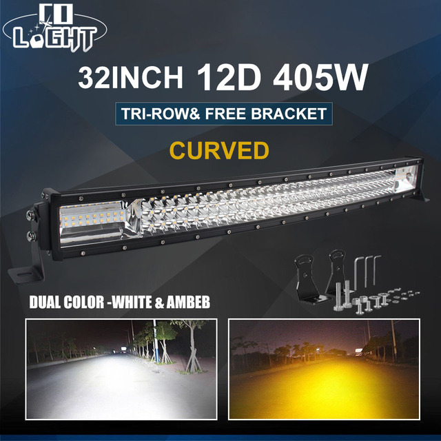 CO LIGHT 12D LED Light Bar Curved 3-Row 405W Led Bar Combo Led Beams for Jeer SUV 4X4 ATV Offroad Led Driving Fog Light 12V 24V