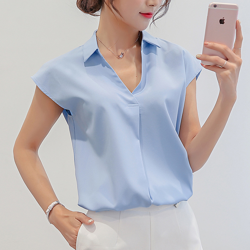 2a66193eb24 women chiffon blouse shirt plus size Vneck sleeveless casual summer white  pink blue female tops-in Blouses   Shirts from Women s Clothing on  Aliexpress.com ...