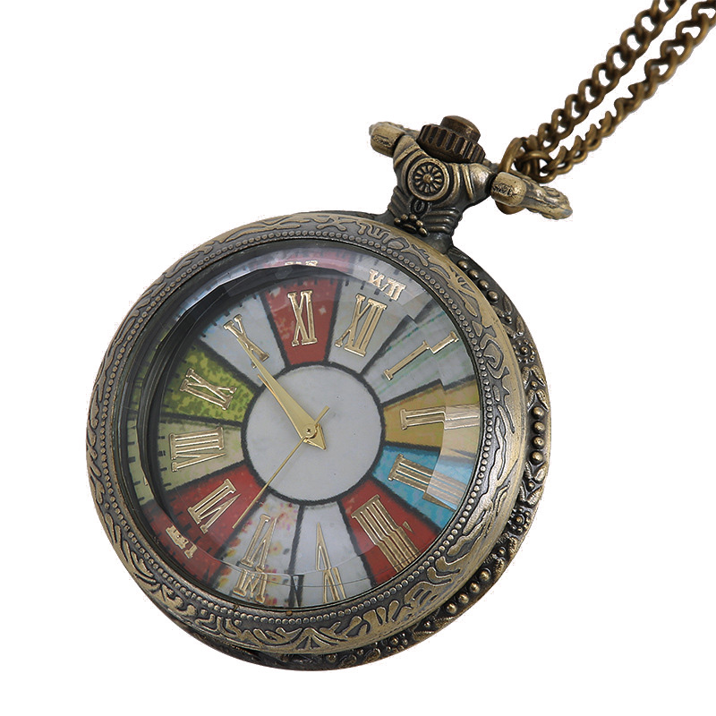 Vintage Steampunk Rome Number Bronze Colorful Clock Transparent See Though Face Retro Ver Pendant Pocket Watch