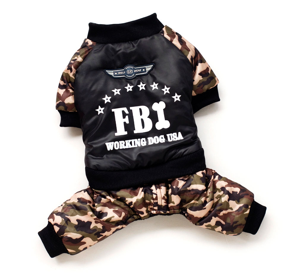 2017 Pet Small Dog Cat Outfit Puppy Winter Boy Clothes FBI Coat with - Pet Products
