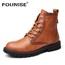Pounise Men's Boots Genuine Leather Retro Designer Martins Boots Fashion Work Shoes Lace Up Ankle boots Men shoes Winter Boots