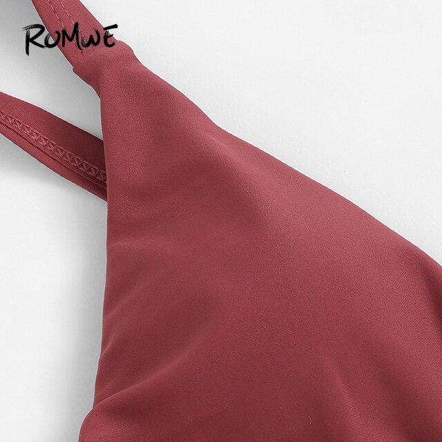 Romwe Sport ржавчина, однотонный топ с v-образным вырезом, бикини с рюшами, набор, пляжный отдых, с глубоким вырезом, треугольник, женские летние ку... 3