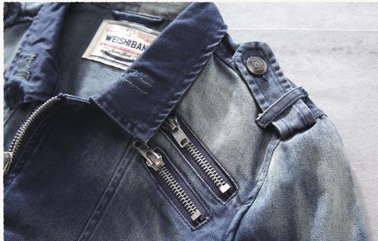 Classique Denim Moto Coton Veste Bleu Jean Biker BOxUqqd