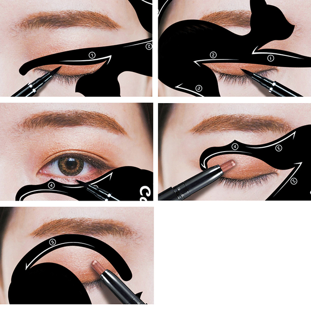 Cat Eye Fish Tail Double Wing Eyeliner Stencil Eyeliner Stencil Models Template Shaping Tools Eyebrows Template Card DIY Beauty 1