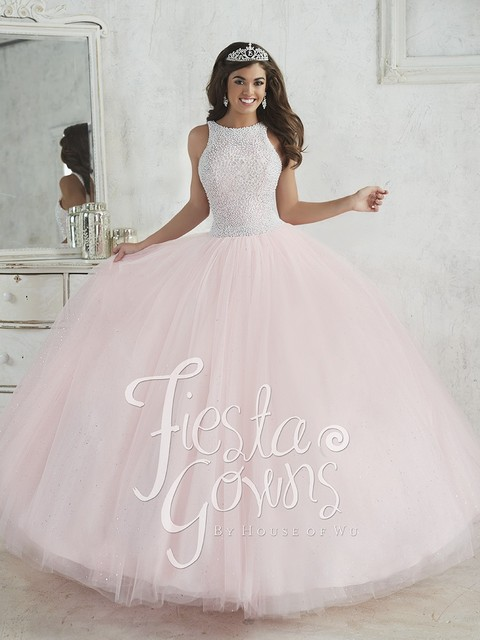 1dbbe5d72 Vintage Scoop Neck Pink Blue Quinceanera Dress Bead Pearls Tull Ball Gown  Lace Up Back Vestidos de 15 Anos XQ9