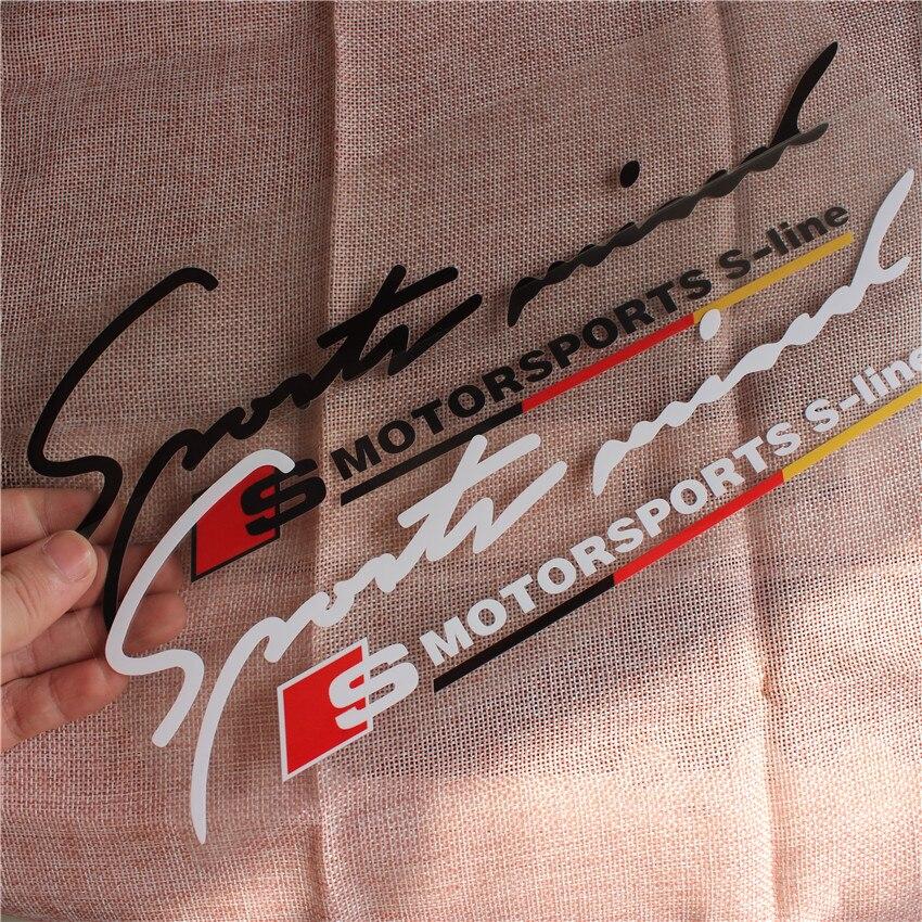 New Motorsports Body windows Sticker Decal Car Styling For Audi Sline A1 A3 A4 A5 A6 A7 A8 Q3 Q5 Q7 S3 S4 S5 S6 S7 S8 TT B7 B8 2pcs led logo door courtesy projector shadow light for audi a3 a4 b5 b6 b7 b8 a6 c5 c6 q5 a5 tt q7 a4l 80 a1 a7 r8 a6l q3 a8 a8l