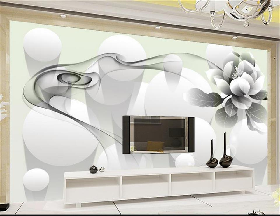 Custom 3d photo wallpaper living room mural black and white smoke flower HD painting sofa TV background wall non-woven wallpaper custom 3d mural wallpaper european style painting stereoscopic relief jade living room tv backdrop bedroom photo wall paper 3d