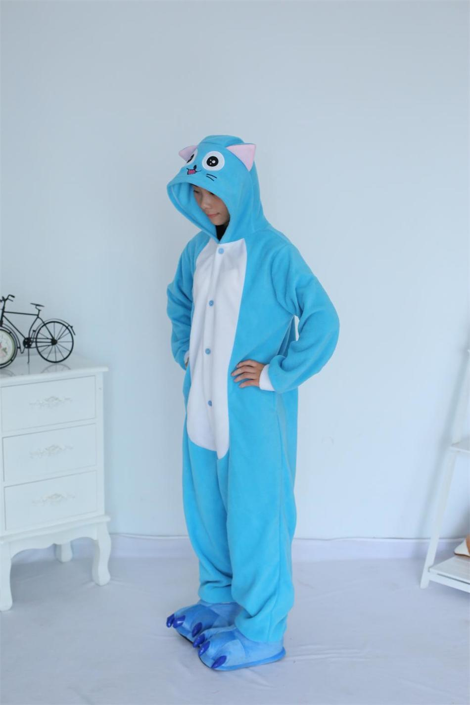 Kigurumi Cartoon Animal Blue Happy Cat Onesie Unisex Adulto Pijamas - Disfraces - foto 4