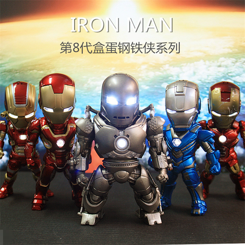 все цены на Free Shipping Iron Man 8 Edition 5 Pieces of Action Figure Iron Man Light & Doll PVC ACGN figure Garage Kit Toys Brinquedos 9CM