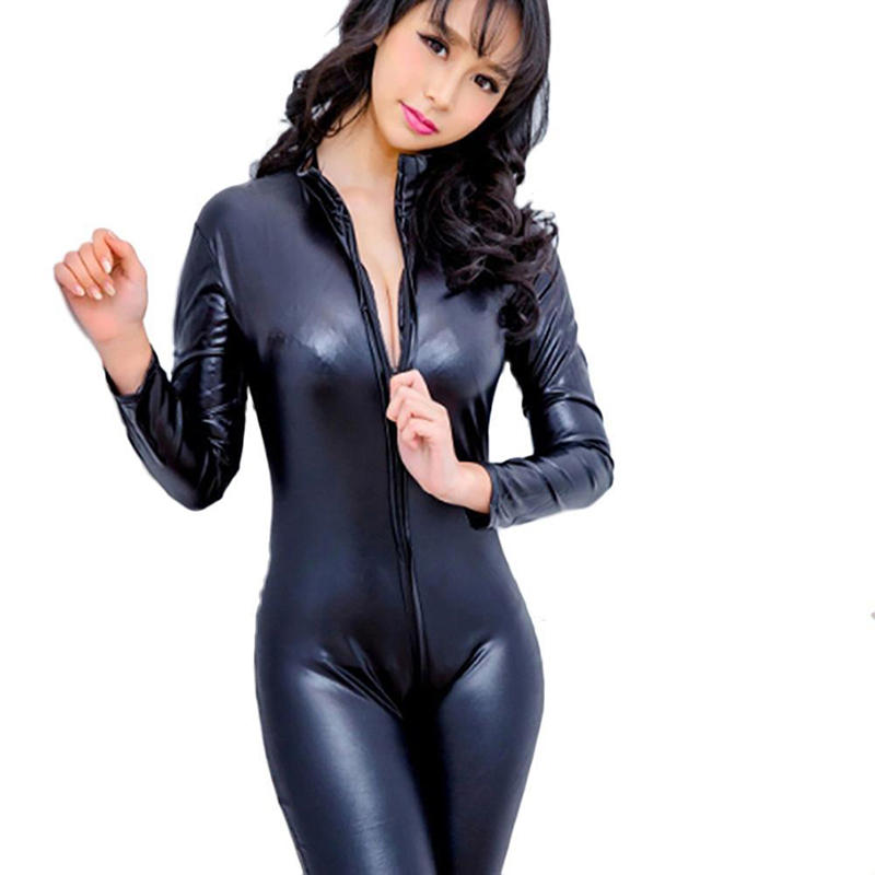 Women Sexy Black Faux Leather Latex Zentai Catsuit Smooth Wetlook Jumpsuit Front Zipper Elastic PU Bodysuit Slim Clubwear