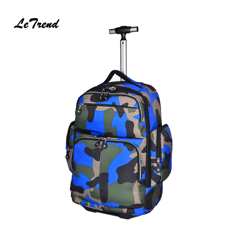 цена Letrend New Fashion Camouflage Travel Bag Men Rolling Luggage Trolley Women Boarding Box Students Multi-function Trunk Backpack онлайн в 2017 году