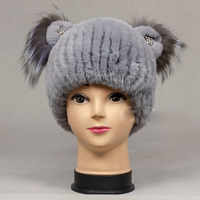 Winter Real Rex Rabbit Fur Beanie Hat For Kids Knitted Warm Fashion Fur Cap For 2018