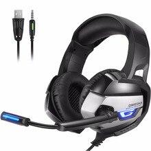 Onikuma K5 3.5 мм разъем для наушников игровой гарнитуры геймера с микрофоном светодиодные глубокий бас для новых Xbox One/PS4 /Планшеты/ноутбук/мобильный телефон