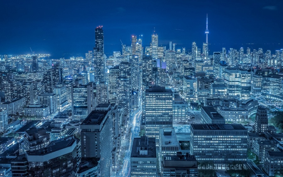 Living room home wall decoration sill fabric poster toronto canada night city buildings skyscrapers ...