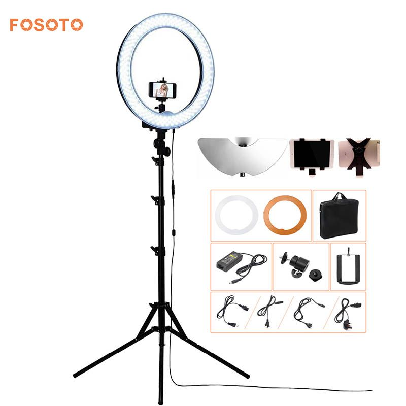 fosoto Camera Photo/Video/phone RL-18 55W 240 LED 5500K Photography Dimmable Ring Video Light Lamp With Moon Mirror/Tripod Stand ashanks 55w 5500k ring light with stand 240 led photographic lighting dimmable camera photo studio phone video photography lamp