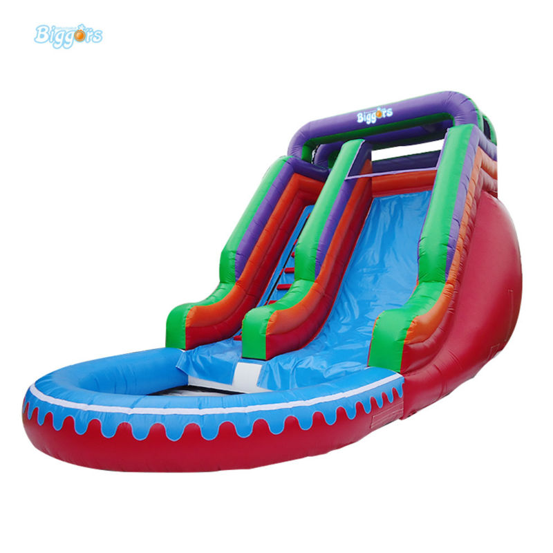 New Product Inflatable Water Slide With Pool Safely For Kids And Adults commercial inflatable water slide with pool made of pvc tarpaulin from guangzhou inflatable manufacturer