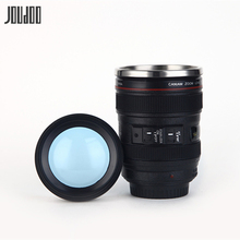 JOUDOO 400ml Durable Stainless Steel Liner Creative Camera Lens Shaped Mug With Lid Plastic Coffee Tea Drinkware 35