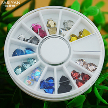 12 Color 3D Acrylic Heart Shape Crystal Rhinestone Facet Glitter Gem Nail Art Polish Tips Decoration Wheel Manicure Jewelry Tool