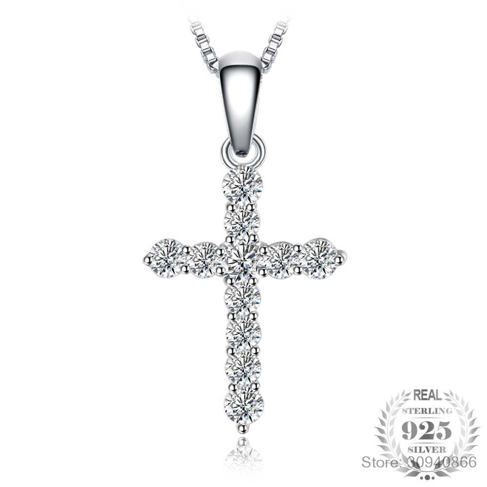LEKANI New Fashion Cross Necklace Accessory Ture 925 Sterling Silver Women Crystal CZ Pendants Necklace Fine Jewelry