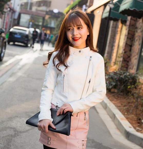 Free Shipping New fashion pink girl jacket jacket short PU   leather   jacket student female jacket 2018 New