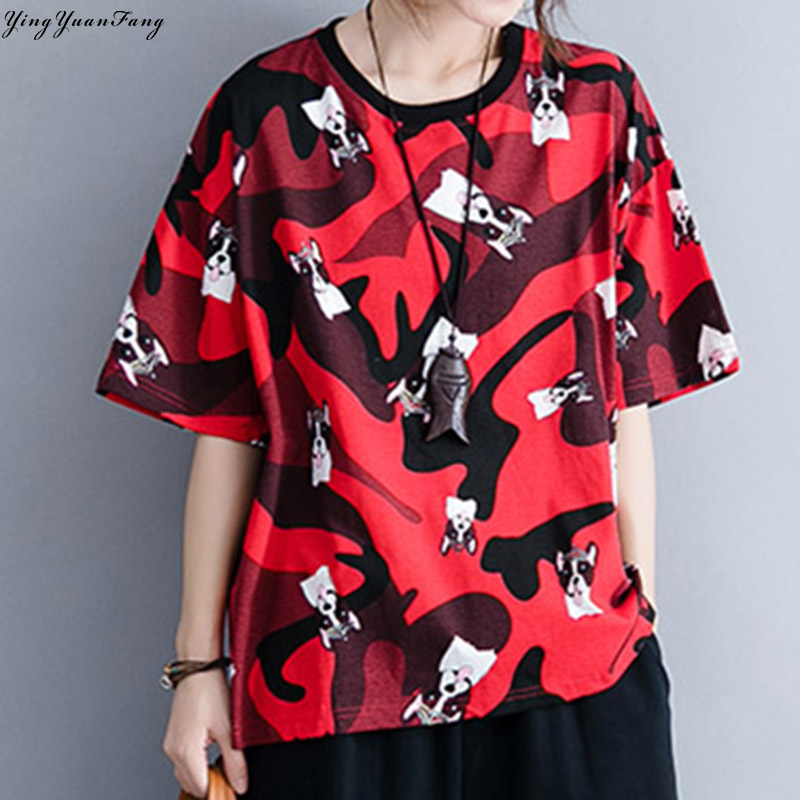YingYuanFang Fashion new literary simple large size women's cartoon camouflage printing loose slimming age-old T-shirt