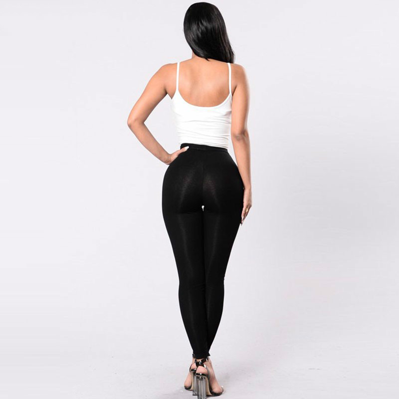 Black Hollow Out Leggings Women 2019 Autumn Winter Full Length Pencil Pants Sexy Fitness Lace Up Bodycon Legging 39