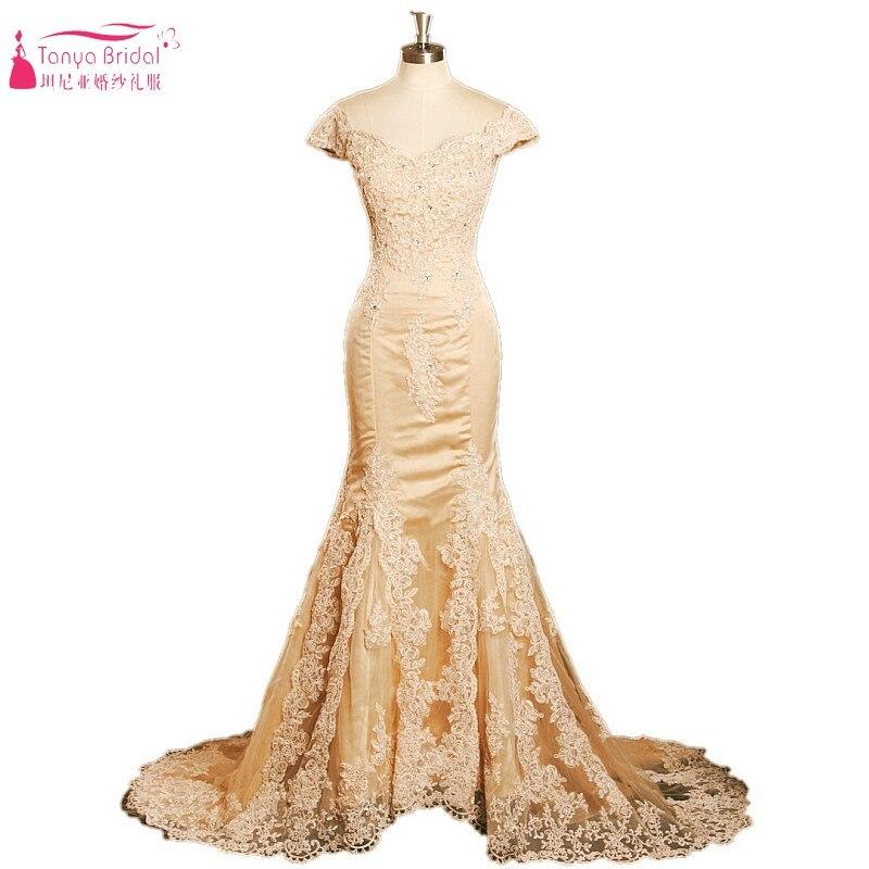 Vintage longue sirène Champagne or dentelle Appliques perles manches courtes formelle robe de soirée chine pas cher robes de soirée