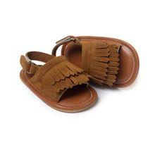 Sandalias del bebé del bebé de la manera del ocio del verano sandalias de las muchachas de los niños de la pu borla shoes 7 colores