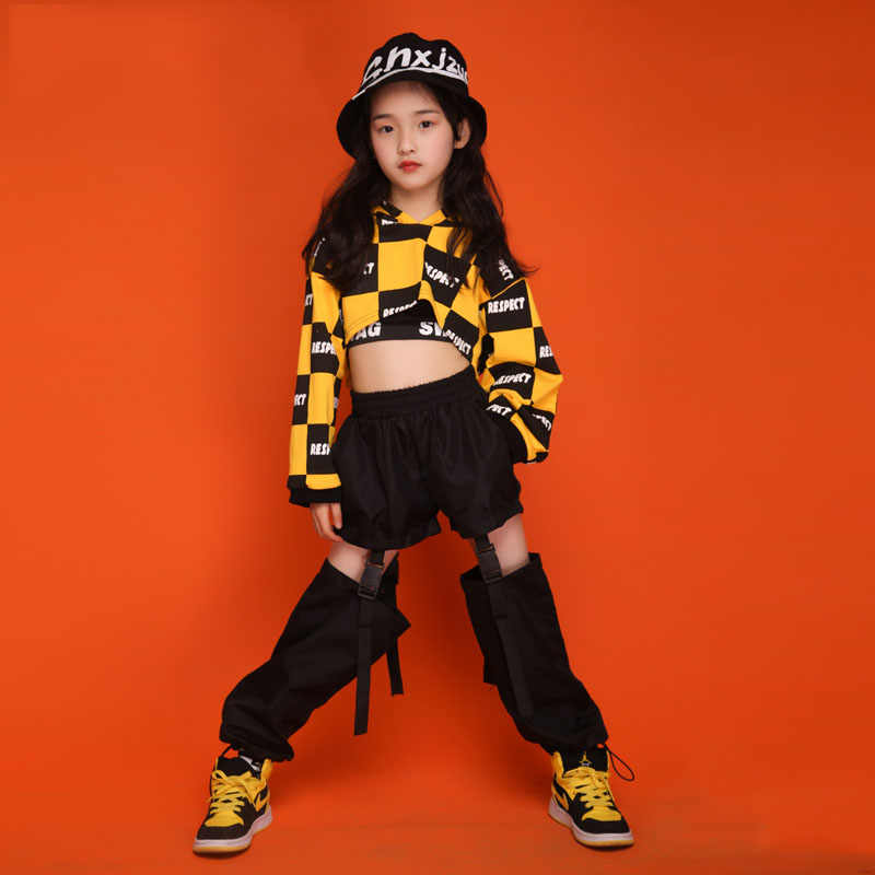 New Fashion Girls Jazz Dance Suit Child Hip Hop Street Dancing Costumes Kid Jazz Dance Stage Performance Wear 3PCS DQL167
