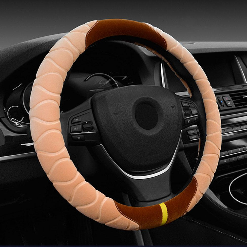 38cm Anti-Slip Stylish Car Vehicle Winter Soft Warm Plush Steering Wheel Cover Protector funda volante