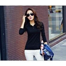 Новинка, женская рубашка поло с длинным рукавом, Повседневная рубашка поло для женщин, плюс размер, хлопок, поло, Mujer, Осень-зима, топы, футболки для девушек, поло