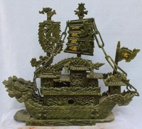 38 cm */Opracowanie South China Tajwan jade ręcznie rzeźbione żeglarstwo feng shui lucky dragon boat