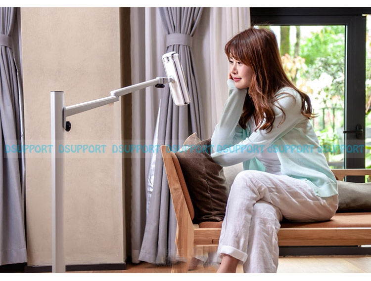 UP-6S Free Shipping Universal Tablet Floor Stand for 7-13 inch Tablet PC/3.5-6 inch Smartphone Lazy Holder Height Adjustable