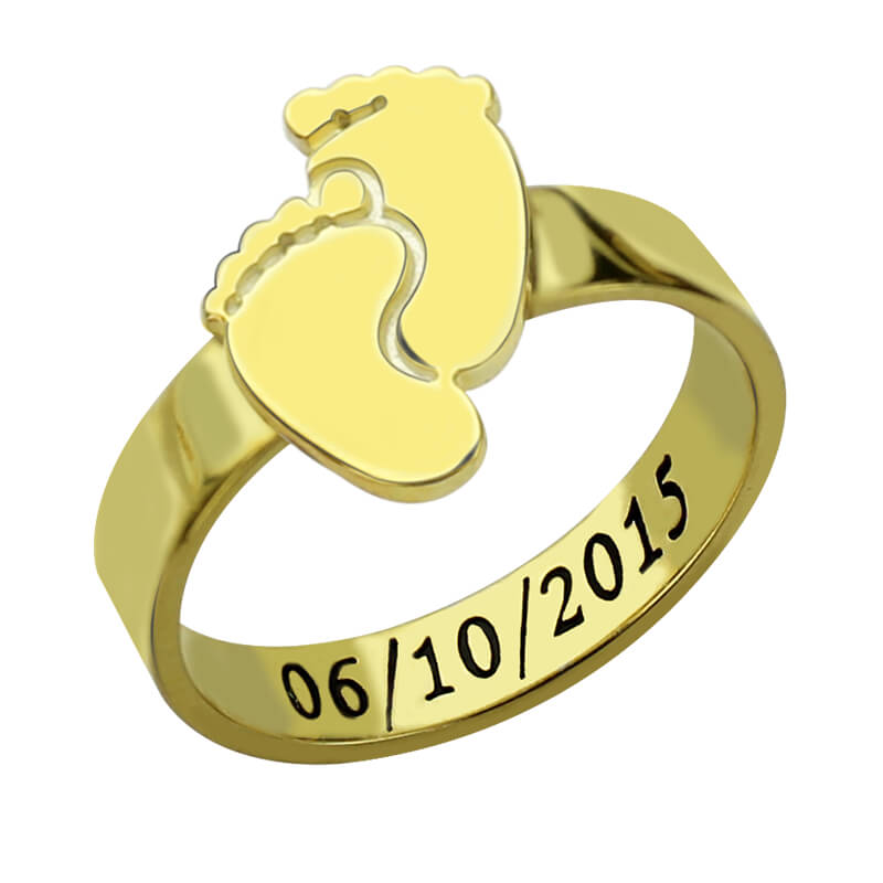 Wholesale Personalized Baby Feet Ring Gold Color Engrave Name&Date Ring Cute Baby Footprint New Mom Gift Mother's Ring