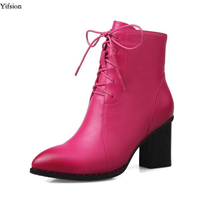 Yifsion Women Chelsea Leather Ankle Boots Square High Heels Boots Pointed Toe Black Rose Red Dress Shoes Women Plus US Size 4-10Yifsion Women Chelsea Leather Ankle Boots Square High Heels Boots Pointed Toe Black Rose Red Dress Shoes Women Plus US Size 4-10