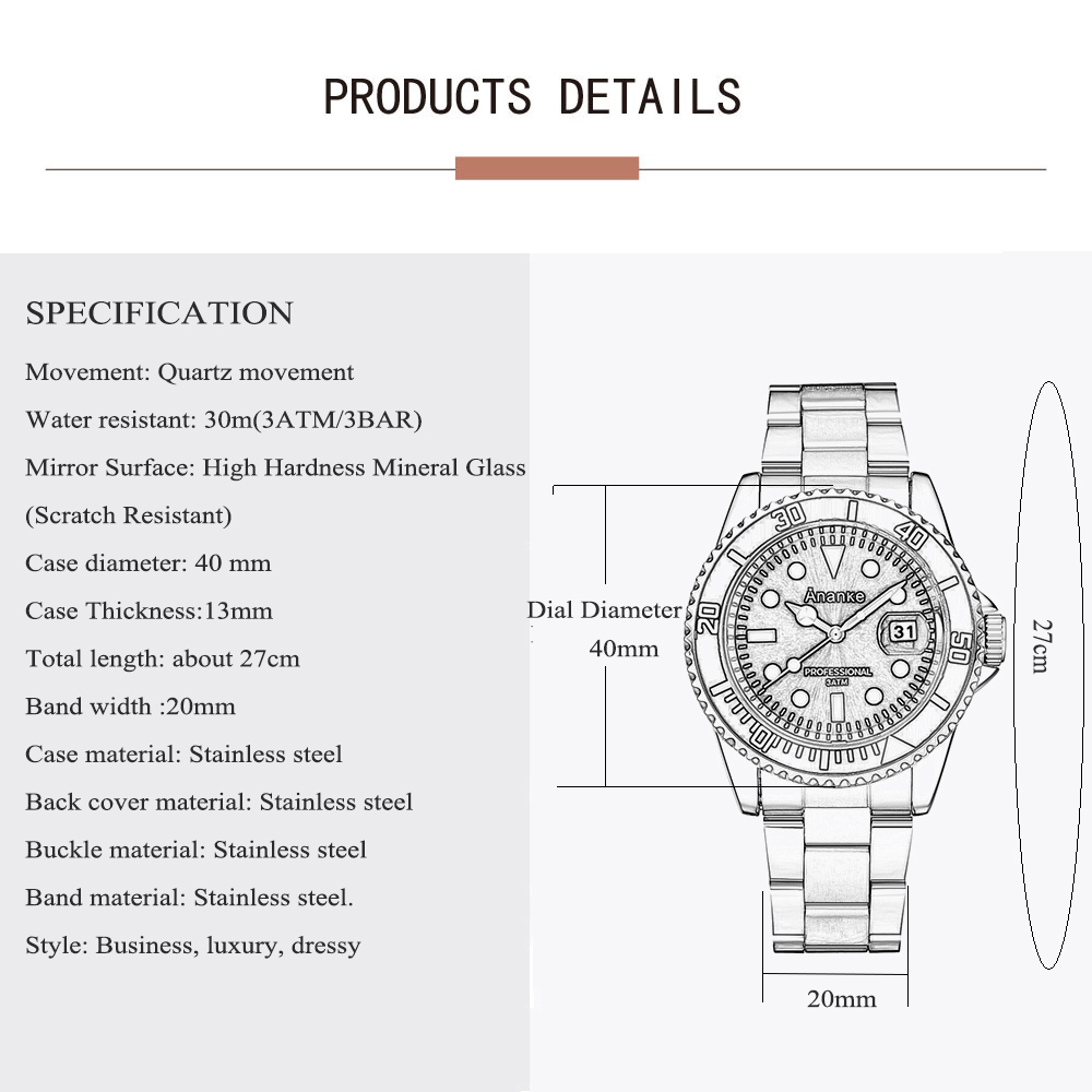 Image 5 - Mens Watches Casual Quartz Watches Men Stainless Steel Ananke Top Brand Luxury Waterproof Relogio Masculino Esportivo Clock-in Quartz Watches from Watches