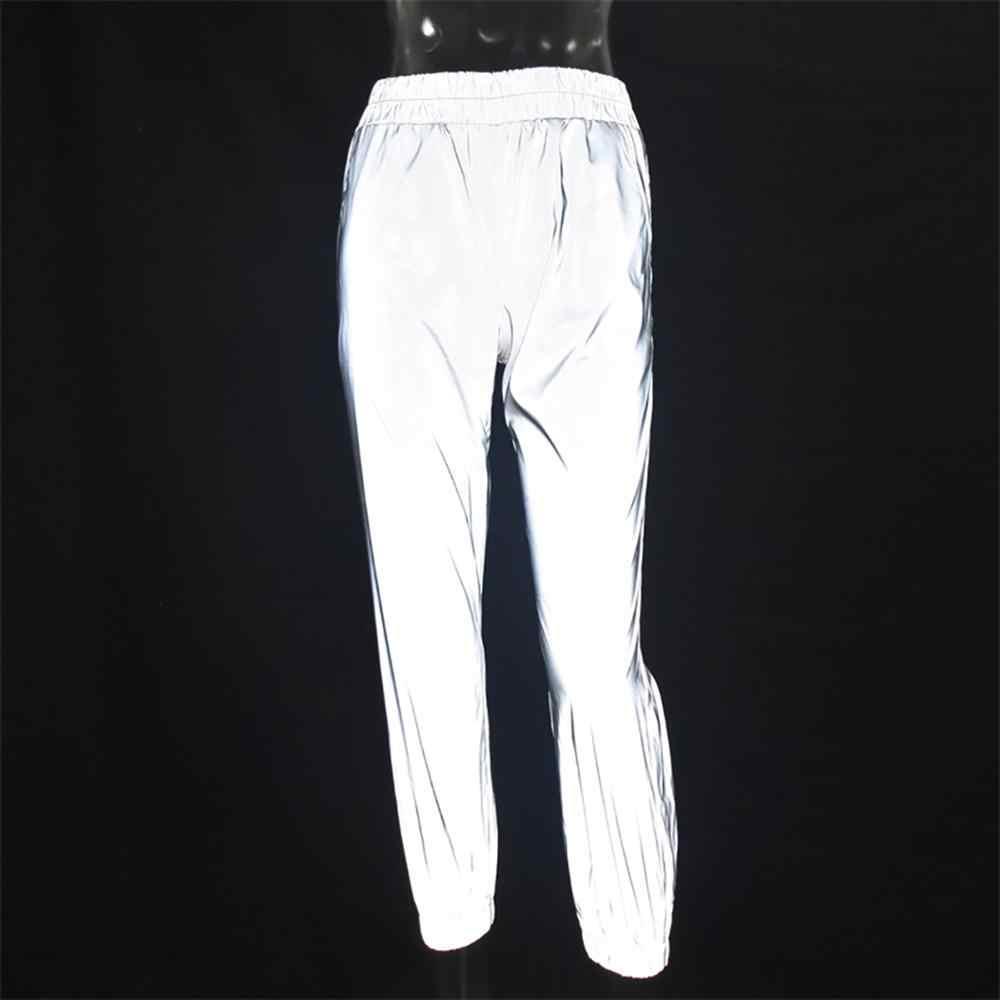 2019 Весна Осень Мода хип-хоп повседневные однотонные серые флэш Светоотражающие штаны для бега женские свободные брюки уличные брюки