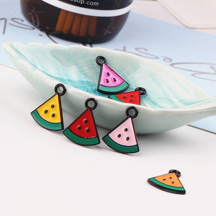 diy jewelry finding 50pcs/lot alloy fruit style cartoon Watermelon tablets shape metal floating locket charm fit earring pendant